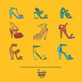 Lovely set with stylish fashion shoes hand drawn and isolated on yellow background Vector illustration showing various stiletto high heels sandals Creative collection in different colors
