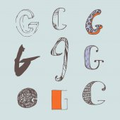 Vector set of colorful alphabet letters G isolated on light blue background Collection good for creative lettering logo branding design Letters hand drawn with brush and ink in different styles