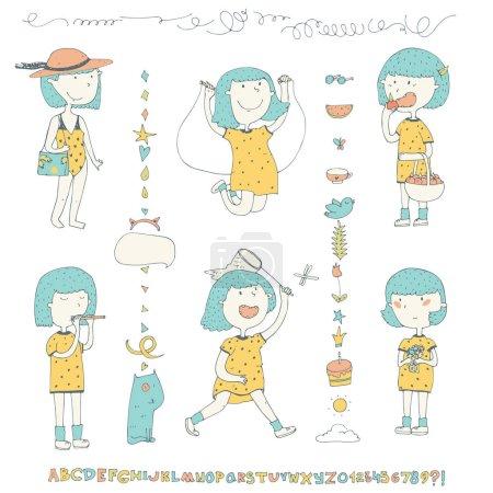 Illustration pour Mignonne collection avec une petite fille doodle aux cheveux bleus en robe jaune dans les activités estivales sauter la corde à sauter, manger des pommes, rester avec des fleurs et plus encore. Autres griffes et alphabet . - image libre de droit