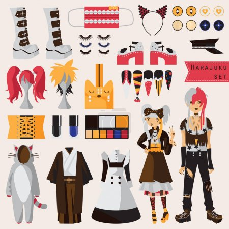 Illustration for Bright set with subculture of japanese harajuku street fashion, couple in visual kei style with accessories for cosplay and creative fashion, Kimono, maid dress, nails, wigs, shoes on high platform. - Royalty Free Image