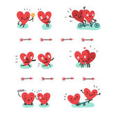Couple in love concept Two cute hearts doing various funny activities together: hugging biking jogging yoga swinging Vector illustration in flat style