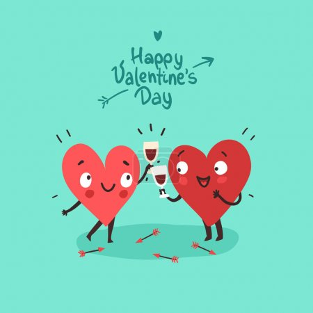 Illustration for Two happy hearts in love drinking red wine and celebrating Valentines day - Royalty Free Image