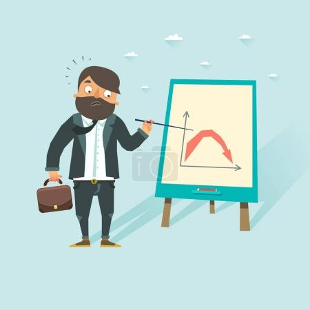 Pessimistic business man showing bear falling market chart. Downward trend. Vector illustration in flat style