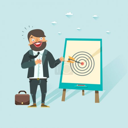 Illustration for Successful business story concept. Happy businessman got a win in darts. Vector character in flat style. - Royalty Free Image
