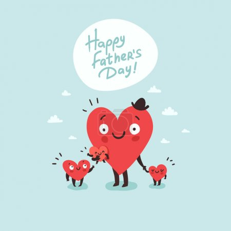 Illustration for Cute family, daddy with children. Happy Father's day. Hearts characters as symbols of love and family. Vector colorful illustration - Royalty Free Image