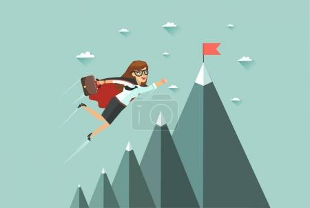 Office superwoman flying to achieve her goal