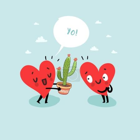 Illustration for Cute hearts characters. Man giving Cactus to woman. First love date. Friendship concept. - Royalty Free Image