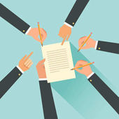 Cooperation agreement concept Hands with pencils Team signing a paper document Vector illustration in flat style