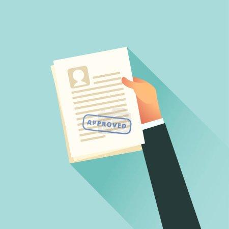 Illustration pour Main détient un document papier approuvé. Illustration vectorielle dans un style plat - image libre de droit