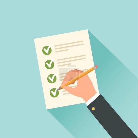 Illustration pour Formulaire d'impôt de remplissage main mâle. Illustration vectorielle - image libre de droit