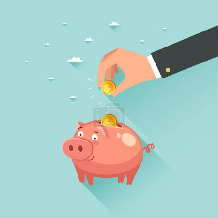 Illustration for Hand putting a gold coin to cute money piggy bank. Saving money concept. Vector colorful illustration in flat style - Royalty Free Image