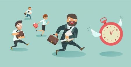 Illustration pour Une foule d'hommes d'affaires qui courent. Les ouvriers courent après l'horloge. Concept de date limite . - image libre de droit