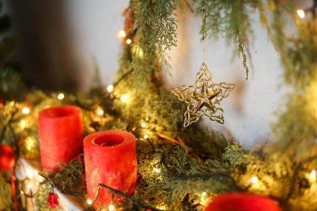elements of christmas decor in studio