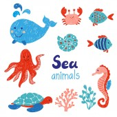 Sea animals set in red and blue colors Doodle children drawings Vector illustration
