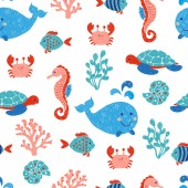 Cute sea animals seamless pattern in blue and pink colors Vector background with children drawings of whale turtle sea horse and fishes