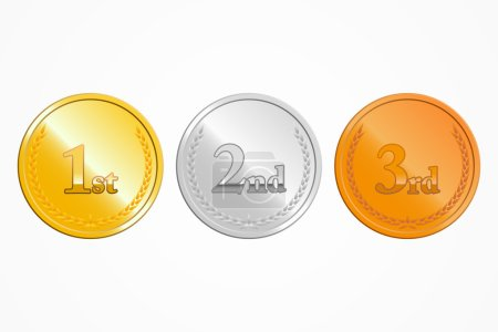 Gold, silver and bronze place medals on white background