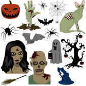 A set of Halloween stickers