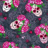 Seamless pattern with sugar skull and pink roses