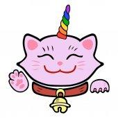 Cute cat unicorn Pink Maneki Neko