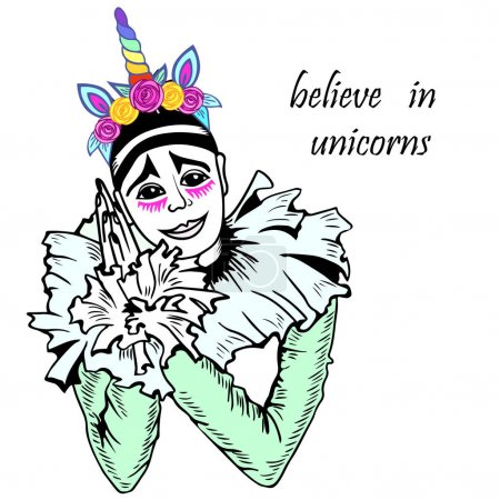 Cute Pierrot with unicorn tiara.