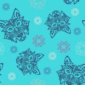 Seamless pattern with wolf or husky dog head