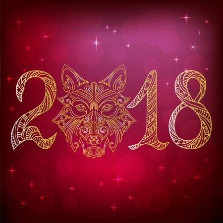 2018 with wolf or husky dog head contour