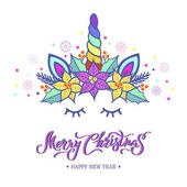 Merry Christmas card with hand drawn lettering Unicorn Tiara with rainbow horn and Christmas star flower Poinsettia Vector illustration isolated on white background  Postcard invitation motive