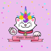 Cute Happy Birthday card with cat and Unicorn tiara Vector illustration for party invitation greeting card love you card White Maneki Neko is symbol of happiness luck success love