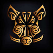 Golden boar head isolated on black background Stylized Maori face tattoo Symbol of Chinese 2019 New Year  Vector illustration Golden boar mask