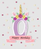 Vector illustration with number Zero Unicorn Horn ears and flower wreath Template for Baby Birth party invitation greeting card Cute Number Zero as logo patch sticker Vector illustration