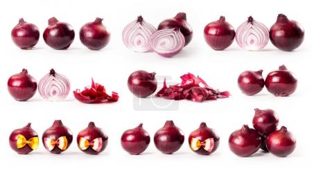 composite with red onions isolated on white background