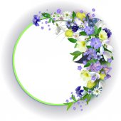 spring primroses card with space for text in a round frame spri