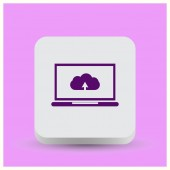 laptop upload cloud icon