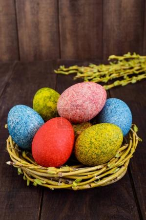 Colorful painted eggs in a nest of twigs of willow on a dark wooden background. Traditionally for Easter. Vertical view.