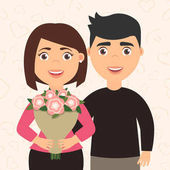 Romantic couple man and woman Girl holding a bouquet of flowers in his hands The boyfriend hugs his girlfriend Cute lovely character in cartoon style  Vector Happy International womens day