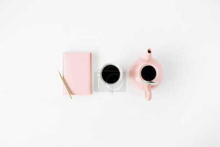 Photo for Feminine trendy home space: pink diary, teapot, coffee mug and golden pen. Flat lay, top view - Royalty Free Image