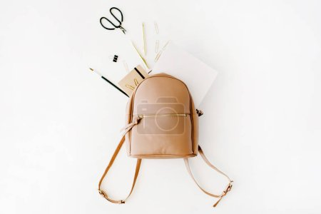 Brown leather backpack with female artist items