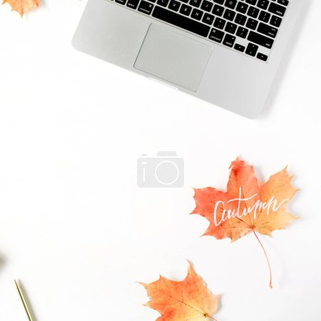 Photo for Autumn fall wallpaper. Home office workspace frame mock up. Flat lay, top view - Royalty Free Image
