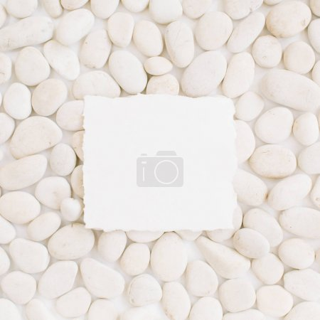 Photo for Blank with copy space on neutral pattern of beige stones. Flat lay, top view - Royalty Free Image