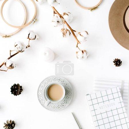 feminine accessories arrangement with coffee