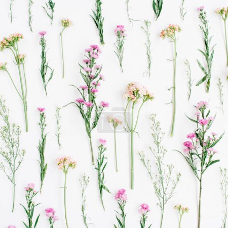 Floral pattern with pink and beige wildflowers