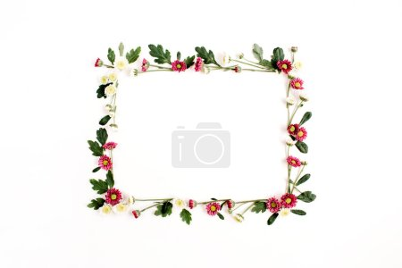 Frame wreath with red and white wildflowers