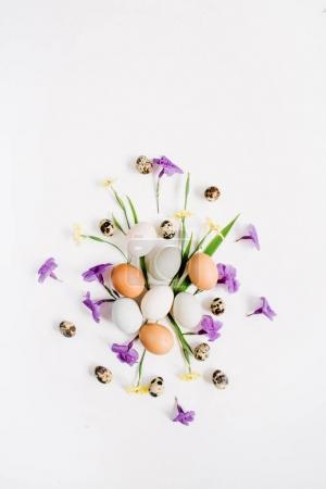 Easter eggs, quail eggs, yellow and purple flowers