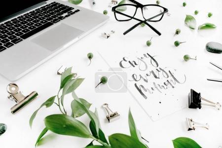 White office desk workspace
