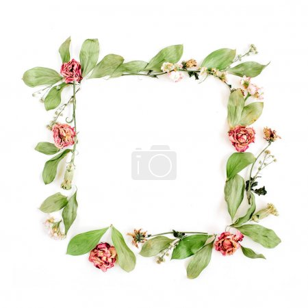 roses, pink flower buds, branches and leaves frame