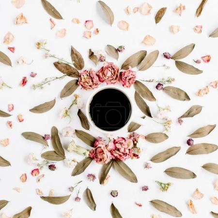 Round frame wreath pattern with roses, coffee cup, pink flower buds