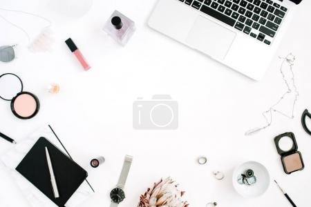 Blogger or freelancer frame workspace with laptop