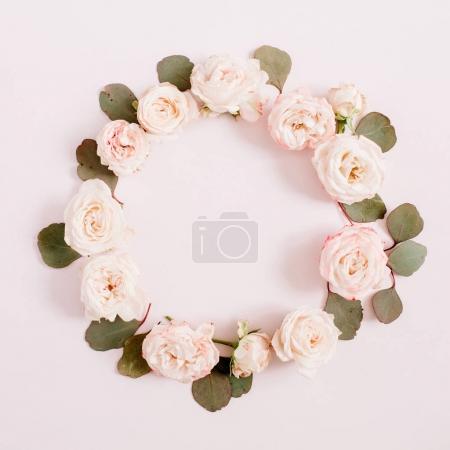 frame made of fresh flowers