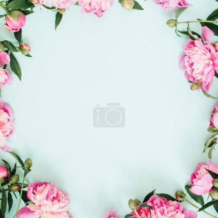 Frame wreath of peony flowers