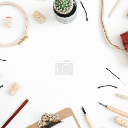 copy space made of retro camera, succulent, tools for handmade arts